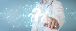 Doctor on blurred background using digital question marks interface 3D rendering