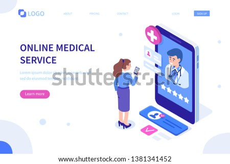 Doctor online concept with character. Can use for web banner, infographics, hero images. Flat isometric illustration isolated on white background. #1381341452