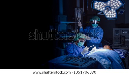 Doctor operation in operation room at hospital concept for insurance advertising.Team of Surgeons Operating in the Hospital.Medical Team Performing Surgical Operation.