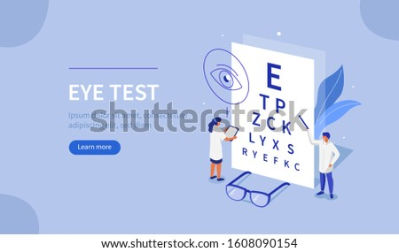 Doctor Ophthalmologist and Nurse standing near Eye Test Chart. Medical Character Checking Vision. Eyesight Check Up and Glasses Choosing. Ophthalmology Concept. Flat Isometric Illustration.