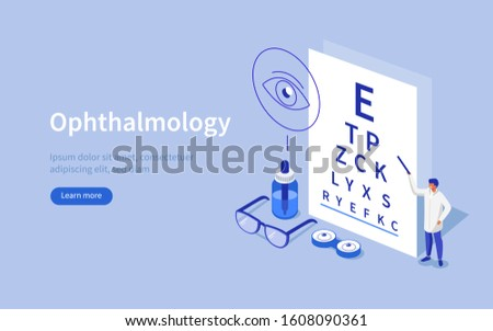 Doctor Ophthalmologist standing near Eye Test Chart. Medical Character Checking Vision. Eyesight Check Up and Glasses Choosing. Ophthalmology Medical Concept. Flat Isometric Illustration.