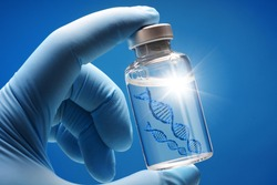 Doctor or scientist shows a vial of genetic agent as a vaccine or therapy against Corona or Covid-19 as a symbolic image