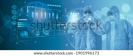 Doctor or scientist using smart visual interface screen,information molecule and DNA helix structure,virus,stem cells,cell sample ,concept healthcare,medical,science,technology,biology development