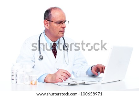 Doctor physician. Health care. Isolated on white background.