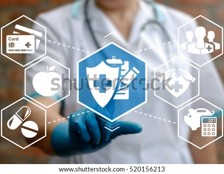 Doctor presses health insurance button on virtual screen on background of medical finance safety icon. Nurse touched shield plus sign with clipboard pencil. Medicine health care assurance treatment.