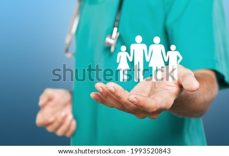 Doctor protect family icons. Family Insurance concept