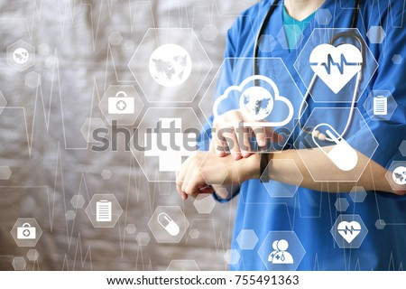Doctor pushing button cloud map healthcare network on virtual panel medicine