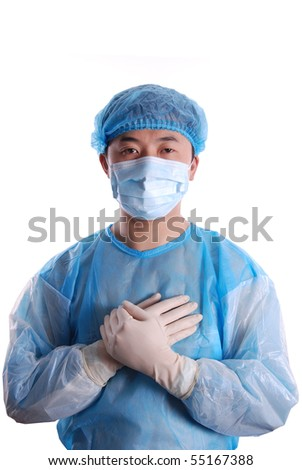 doctor put hands on chest