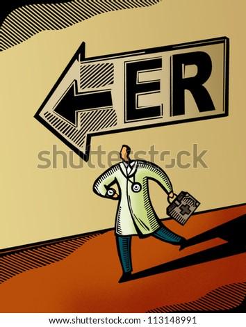 Doctor running towards the Emergency Room