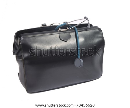 Doctor's bag with stethoscope - stock photo