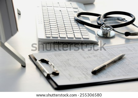 Doctor's desk in evening with no person Stock fotó ©