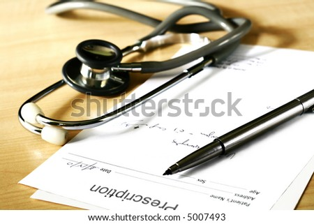 doctor's medical prescription and stethoscope