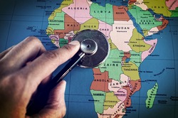 Doctor's stethoscope over africa healthcheck