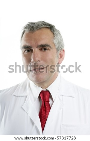 doctor senior expertise gray hair confident on white