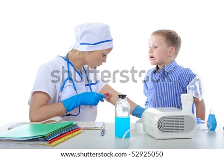 doctor showed the boy how to make a shot. Isolated on white background