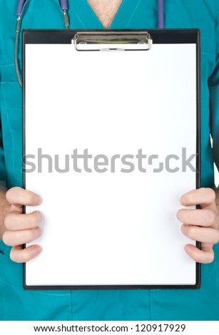 Doctor showing blank clipboard to write it on your personal message or advice