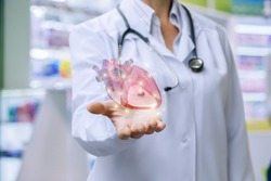 Doctor shows heart in his hand . The concept of treatment of the cardiovascular system.