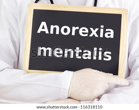 Doctor shows information: anorexia nervosa