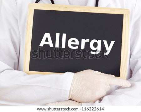 Doctor shows information on blackboard: allergy