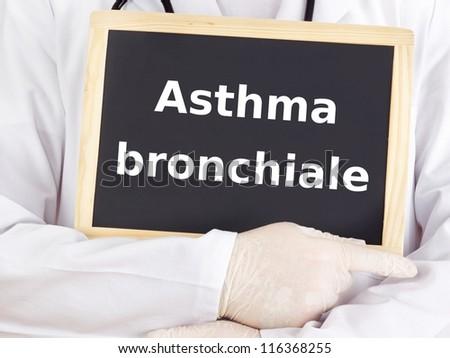 Doctor shows information on blackboard: asthma