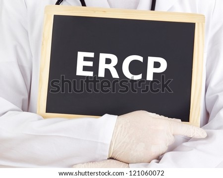 Doctor shows information on blackboard: ERCP