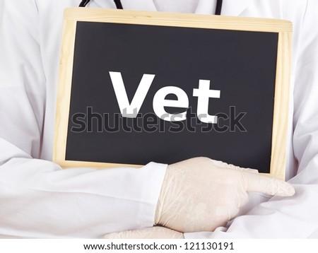 Doctor shows information on blackboard: vet