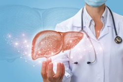Doctor shows liver in hand on a blue background.