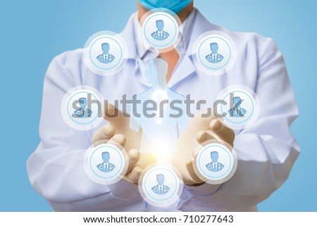 Doctor shows the process of medical expert consultation on a blue background. #710277643