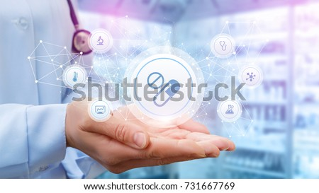 Doctor shows the structure of a prescription for treatment on the background of the pharmacy.