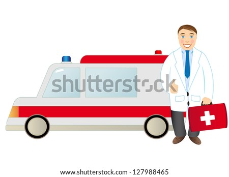 Doctor standing beside an ambulance