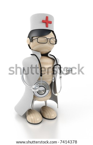 doctor stands with the stethoscope