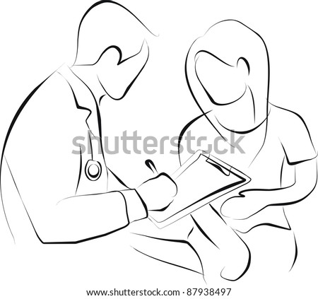 Doctor taking medical record from patient woman that stomach ache