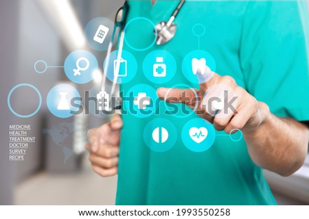 Doctor touch virtual screen with icon medical, medical technology network concept