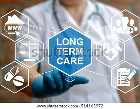 Doctor touched LONG TERM CARE text and working with modern computer virtual medical interface. E-Health, medicine, technology, healthcare concept, ltc, daily grooming elderly.