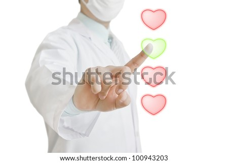 Doctor touching virtual heart shape buttons