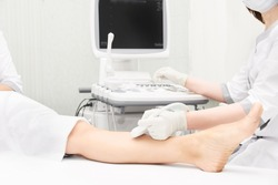 Doctor ultrasound knee test. Scan medical equipment. Diagnosis ultrasound foot. Varicose ankle exam tool.