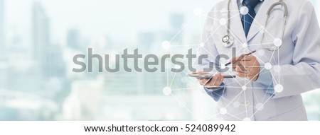 Doctor using a mobile phone contact with patient. Concepts of technology communication. copy space.
