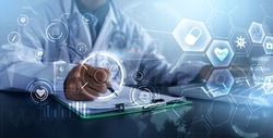 Doctor using computer laptop modern technology diagnosing analyzing patient's health, medical healthcare diagnosis, close up medical professional working in hospital office, banner graphical icon