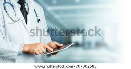 Doctor Using Digital Tablet. Healthcare Medicine Concept