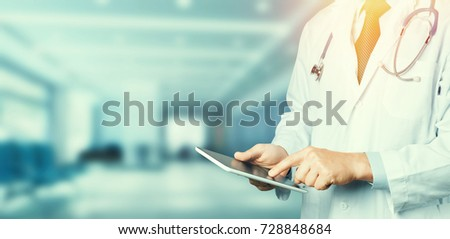 Doctor Using Digital Tablet. Healthcare Medicine Concept