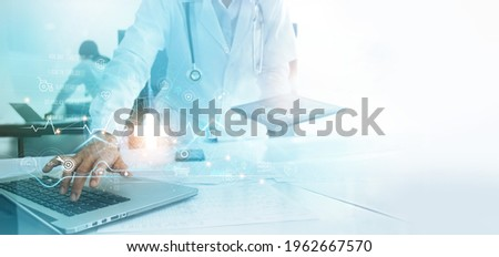 Doctor using intelligence network connecting data analysis and diagnose patient health problem. Innovation technology in medical and science develop solution to improve quality of lives and wellbeing.