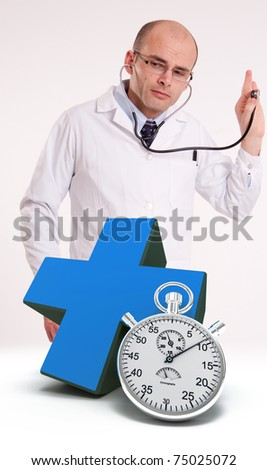 Doctor using stethoscope, a blue cross and a chronometer