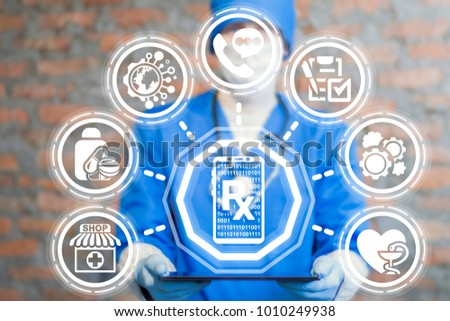 Doctor using virtual interface offers tablet computer with  smartphone rx icon. Mobile Prescription Application Online Internet Digital Pharmacy Order concept. #1010249938