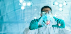 Doctor using virtual reality technology research experimental medicine on Covid-19 coronavirus, develop new vaccine for virus mutation. Futuristic innovative technology in medical and health sciences.