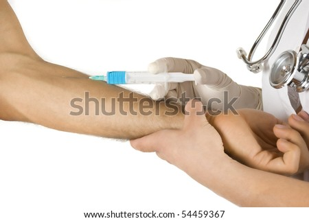 Doctor vaccine a male patient on white background