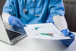 Doctor wearing protective gloves analyzing COVID-19 info data,sitting at office desk with a laptop,Coronavirus global pandemic crisis,medical scientific research showing number of cases & virus spread