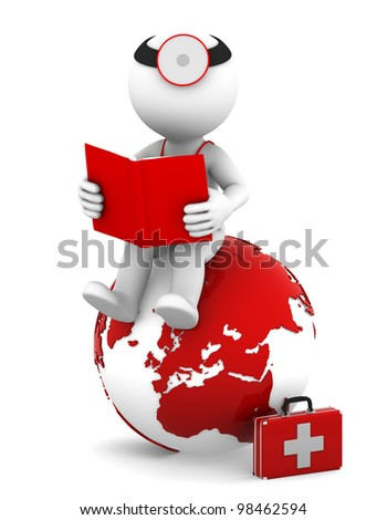 Doctor with a book sitting on red earth globe. Isolated on white background