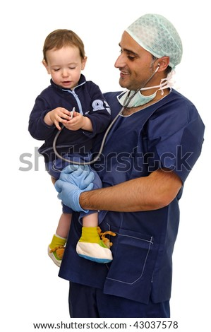 Doctor with baby playing with stethoscope isolated in white