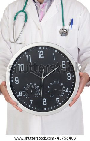 Doctor with big clock isolated on white background