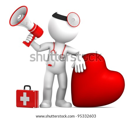 Doctor with big red heart and stethoscope. Isolated on white
